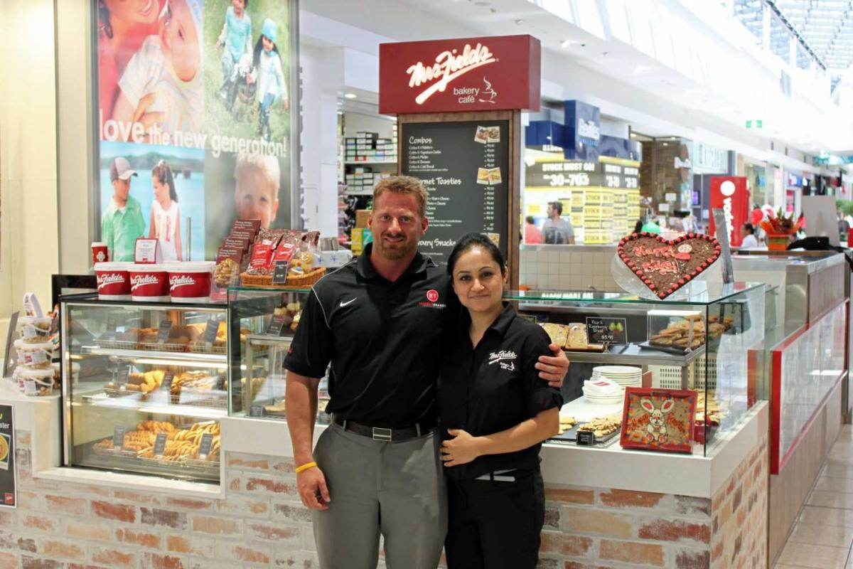 Famous Brands CEO – Neal Courtney with Mrs. Fields Bakery Cafe franchisee - Manu Mediratta at Watergardens Town Centre.