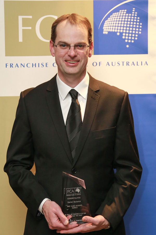 Darren Butterick - SA Single Unit Franchisee of the Year, less than two staff