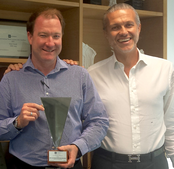 Clayton Treloar (left), CEO Mail Boxes Etc. Australia and Paolo Fiorelli, Chief Executive Officer MBE Global
