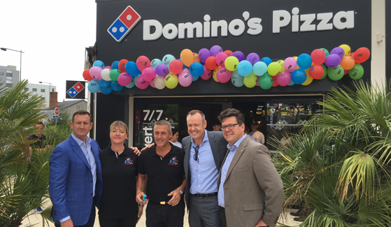 LR –Domino's Europe CEO Andrew Rennie, longtime franchisees Carole and Fabrice, Domino's Group CEO & Managing Director Don Meij and France Operations Director Bart De Vreese MI